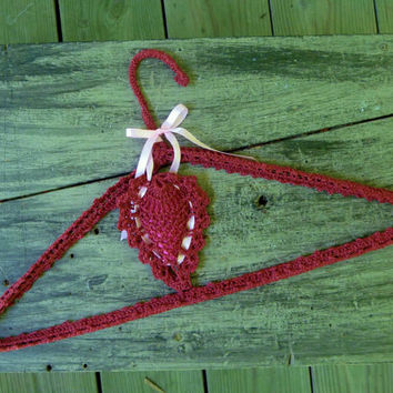 Crochet Covered Clothes Hanger with Hanging Sachet