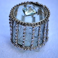 Round Embossed Glass Engagement Ring Box, Jewelry Box, Keepsake, Stunning, Unique and Beautiful..A Great Gift! Order Early!