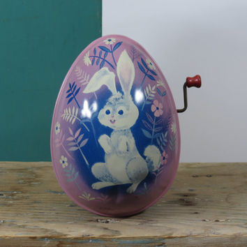 1950s Mattel Wind Up Tin Easter Bunny Egg Mid Century Rabbit and Flowers