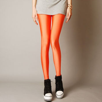 Candy Color Neon Leggings For Women - Sexy Skinny Fitted Elastic Pants