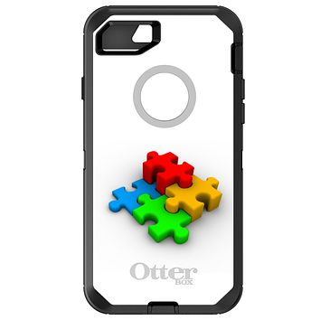 DistinctInk™ OtterBox Defender Series Case for Apple iPhone or Samsung Galaxy - Red Blue Yellow 3D Puzzle Pieces