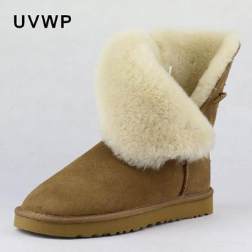 2017 Fashion Women Boots Genuine Sheepskin Leather Snow Boots 100% Natural Fur Snow Boots Warm Wool Winter Boots Top Quality