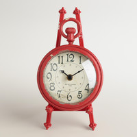 Red Metal Darcy Easel Clock - World Market