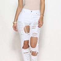 fashion ripped jeans feet pants pants stretch pants beggars-2