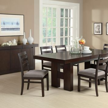 7 pc Dabny collection modern style espresso finish wood rectangular double pedestal dining table set