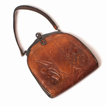 Vintage 1910s Leather PURSE / Edwardian Art Nouveau JEMCO Arts & Crafts Tooled Hand Bag