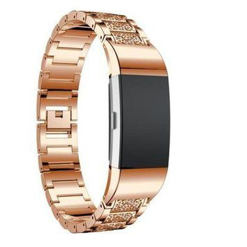 LMFMS6 Smart Watches MM&I Luxury Crystal Stainless Steel Metal Wristband Strap Band For Fitbit Charge (Rose Gold)