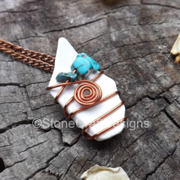 White sea shell necklace with turquoise accent bead, hand wrapped copper wire, women's beach necklace, turquoise necklace, layering necklace