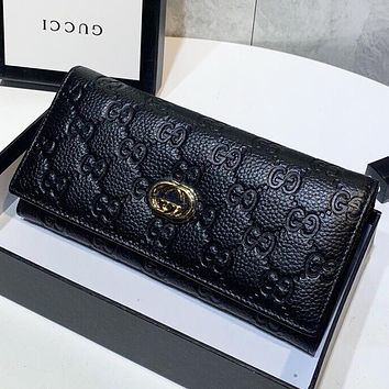 GUCCI New fashion more letter print leather wallet purse handbag Black