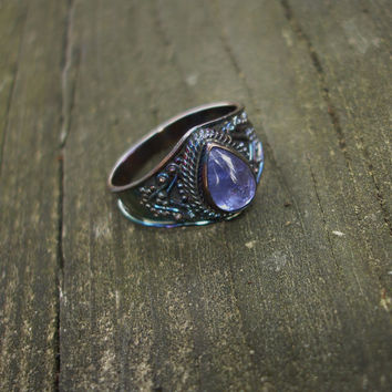 Tanzanite ring, teardrop ring, blue ring, purple ring, gemstone ring, gypsy ring, size 8 1/2 ring, oxidized silver ring, rainbow ring