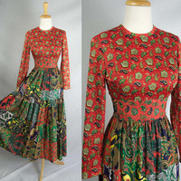 Black Friday Sale *** Vintage 70's Gypsy Maxi Dress Paisley Patches Fortune Teller