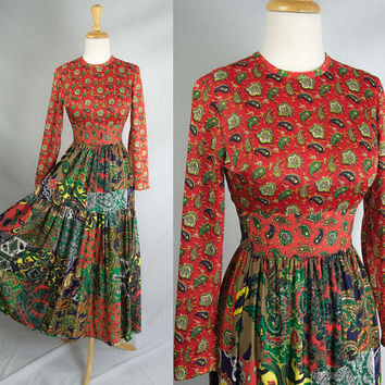 Vintage 70's Gypsy Paisley Patches Maxi Dress Fortune Teller