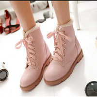 Ladies big size 9 10 11 12 patent leather Lace-up soft velvet Winter Autumn Ankle wedge high heeled boot Snow boots women shoes