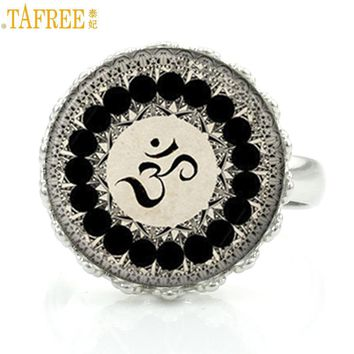 TAFREE vintage om yoga mandala fashion men women rings buddhist  flower of life meditation crown ring jewelry faith HT30
