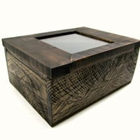 Rustic Photo Box Handcrafted with Reclaimed Pallet Wood - Memento Box with Matte Glass Lid - Small Card Keepsake Box - Wooden Memory Box