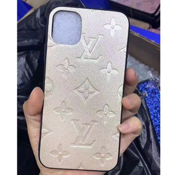 Louis vuitton fashion couple's monochromatic embossed iPhone case