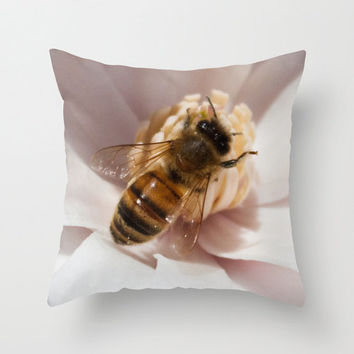 Honey Bee pillow home decor cushion fine art photography living room bedroom furnishing insect magnolia flower Spring pollination endangered
