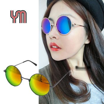 Vintage Mirror Lens Round Sunglasses Golden Grey Frame Gradient Glasses New Hippie Shades Lennon Ozzy 80s Multi-Color 030-263B