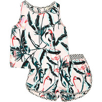 River Island Mini girls pink flamingo print co-ords outfit
