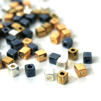 Heavy Metal Mix, metallic glass beads, 4mm cube, Miyuki cubes, 200 beads (827SB)