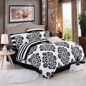 LUCKY TEXTILE black and white bedding set king size duvet cover Winter warm soft crystal velvet bedding flower printed bed sheet