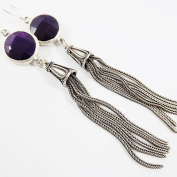 Deep Purple Round Gemstone Tassel Earrings - Jade - Matte Silver plated with Sterling Silver Earwire - Boho Gypsy Style