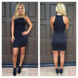 Uptown Quilted and Bejeweled Dress - BLACK