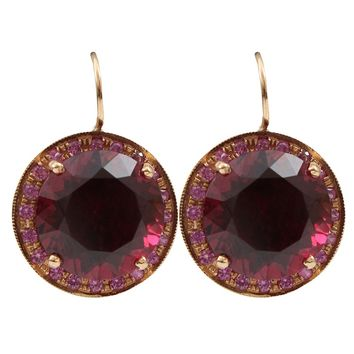 Andrea Fohrman Round Rhodolite Stud Earrings