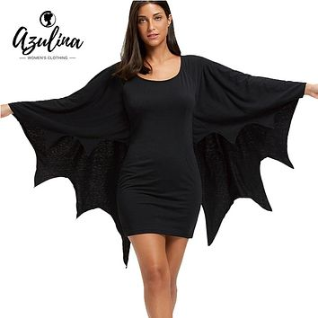 AZULINA Halloween Bodycon Dress with Bat Wings Gothic Style U Neck Long Sleeves Solid Mini Dresses Women Autumn Winter Vestidos