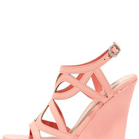 Pretty Please Peach Caged Wedge Sandals