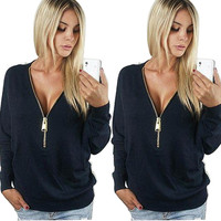 New fashion women casual T-shirt long sleeve deep v-neck sexy female tee tops solid color with zippers woman basic shirts GSTS1