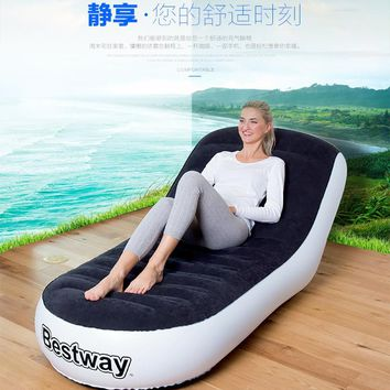 165x84x79cm Flocking back inflatable sofa lazy sofa folding loungers outdoor portable inflatable chair,big relaxing air bean bag