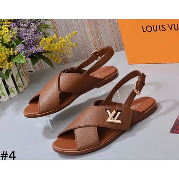 LV tide brand female models lychee pattern fashion casual hipster beach sandals #4