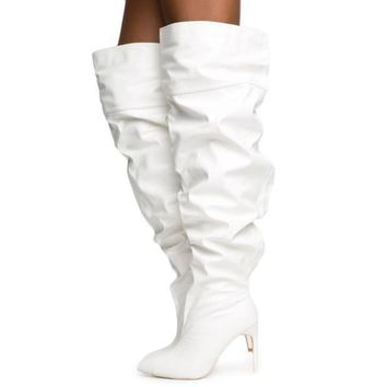Cape Robbin Kitana 2 Women's White Thigh High Boot