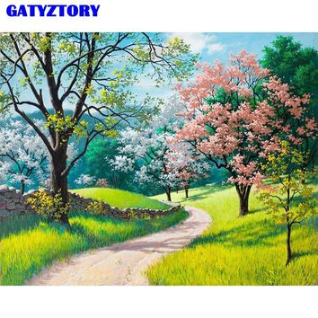Frameless Cherry Blossoms DIY Painting By Numbers Landscape Modern Wall Art Picture Kits Paint On Canvas For Living Room Artwork
