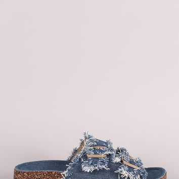 Frayed Denim Open Toe Buckled Cork Footbed Slide Sandal