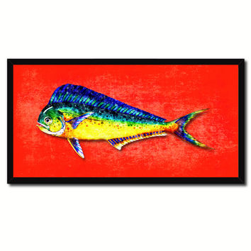 Dorado Fish Art Red Canvas Print Picture Frames Home Decor Nautical Fisherman Gifts