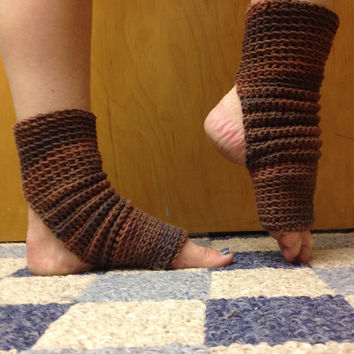 Yoga Socks in Chocolate Brown Cotton US Grown -- for Yoga, Pilates, Dance