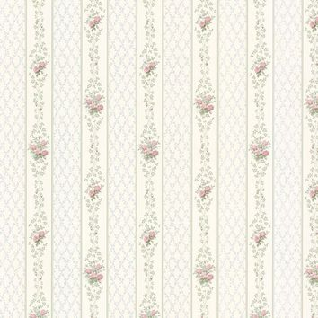 Brewster Wallpaper 487-68836 Jaynie Blush Trellis Stripe