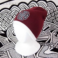 Celtic Knot Knit Beanie Maroon and White Winter Hat Black Trinity Knot