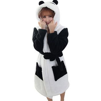 Winter Bathrobe Women Pajamas Bath Robe Sleepwear Womens Robes Coral Velvet Cartoon Panda Nightgowns Homewear Asian Size M-L