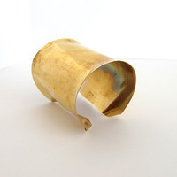 Extra wide cuff, modern brass arm band, artisan formed unisex cuff