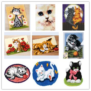 USA Shipping Latch Hook Kit Rug Cushion Pillow Mat DIY Craft Cat 52CM by 52CM Cross Stitch Needlework Crocheting Rug Embroidery