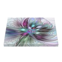 Colorful Fantasy Abstract Modern Fractal Flower Canvas Print