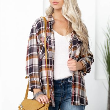 Fall Vibes Double Pocket Flannel Top