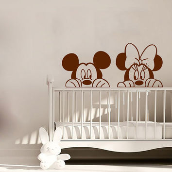 Mickey Wall Decal Minnie Mouse Vinyl Stickers Nursery Art Mural Home Kids Bedroom Decor Interior Design Girl Boy Play Room Decor KI118
