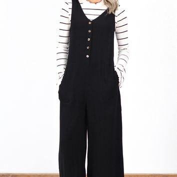 Wide Leg, Button Front Cropped Jumpsuit {Black}