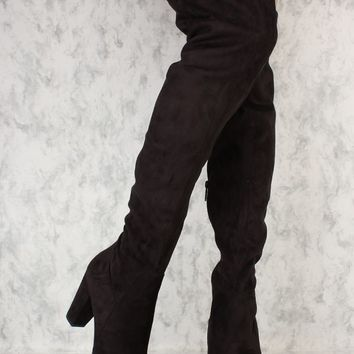Black Round Toe Knee High Chunky Heel Boots Faux Suede
