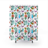 Tropical Drinks and Flip Flops Shower Curtain, Beach Home Decor, Shower Curtain for Beach House, Tropical Home Decor