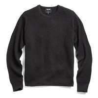 Waffle Crewneck Sweater In Charcoal